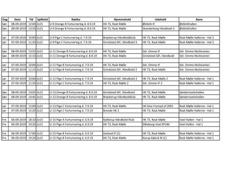 Forturneringskampe for U9, U11, U13 og U15